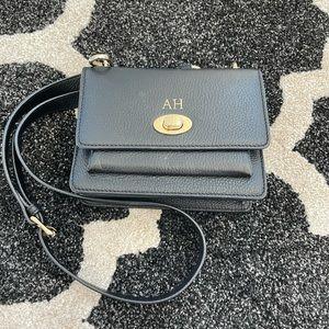 Monpurse Leather Monogrammed Shoulder Bag - Black